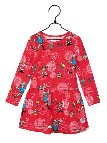 Martinex Pippi Party Dress Red Longsleeve