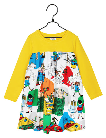 Martinex Pippi Longstocking In Villekulla Dress Yellow Longsleeve
