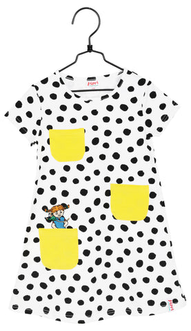Martinex Pippi Longstocking Speckled Black White Dress Shortsleeve