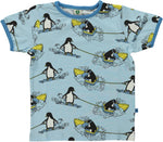 Smafolk Penquin on waterski Aur Blue T-shirt shortsleeve
