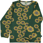 Smafolk Sunflower hunter green longsleeve top