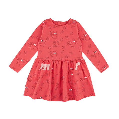 La queue du Chat red girl dress with cat pocket