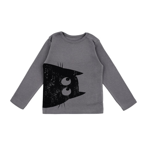 La Queue Du Chat Cat Grey Longsleeve Top