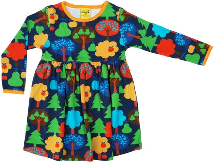 Duns Fruit Garden Dark Blue twirly dress