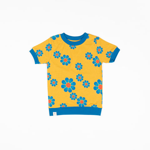 Alba Vesta Tshirt Bright Gold Flower Power