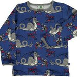 Smafolk Dragon and Knight Blue Longsleeve Top