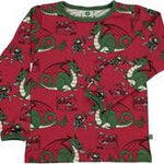 Smafolk Dragon and Knight Red Longsleeve Top