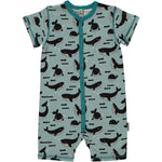 Maxomorra Whale Ocean Rompersuit Button Shortsleeve