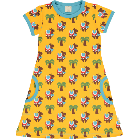 Maxomorra Camel Caravan Dress Shortsleeve