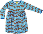 Duns Moose Blue Twirly Longsleeve Dress