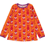 Maxomorra Rabbit orange A-line Longsleeve top