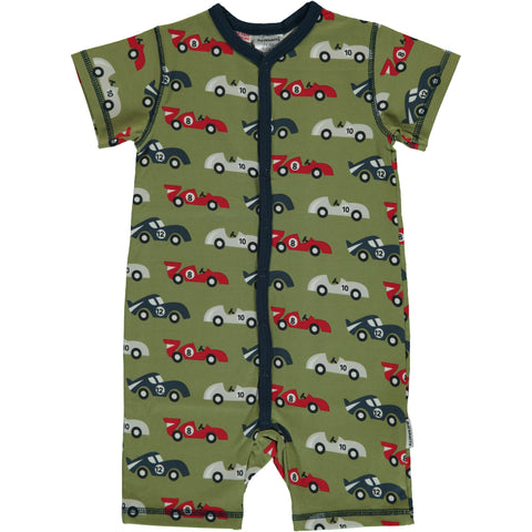 Maxomorra Race Car Romper suit Button Short