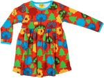 Duns Fruit Garden Red Twirly Dress Longsleeve