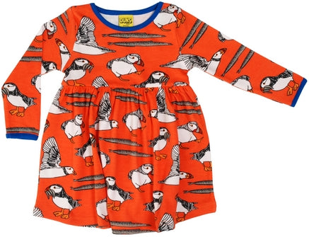 Duns Puffins Red longsleeve twirly dress