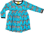 Duns Zebra Turquoise Dress Longsleeve Twirly