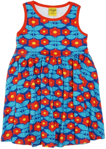 Duns Kurbit Flowers Blue Dress Sleeveless Twirly