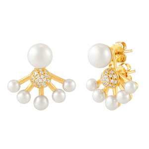 Convertible Button Pearl Jacket Earrings with Swarovski Zirconia
