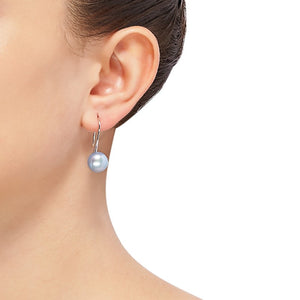 10-11 mm Sky Blue Pearl Drop Earrings