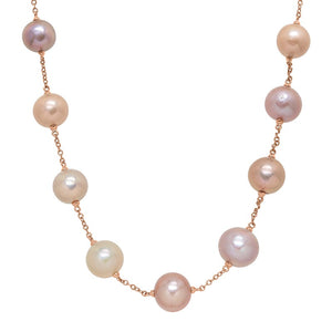 12-16 mm Multicolored Ming Pearl Station Chain Necklace