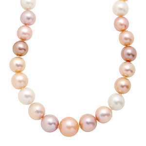 12-16 mm Multicolored Ming Pearl Strand Necklace, 20