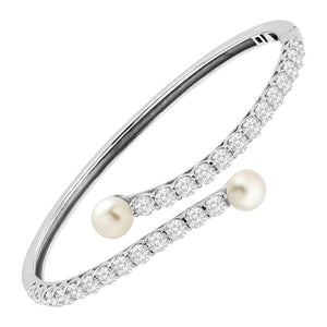 6-7 mm Pearl Bypass Bangle Bracelet with Swarovski Zirconia