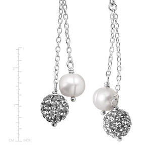 6-7 mm Grey Pearl Drop Earrings with Crystals