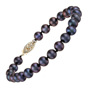 6-7mm Black Pearl Strand Bracelet