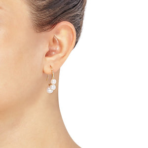 6-8.5 mm White Cultured Pearl J-Hoop Earrings with Diamonds