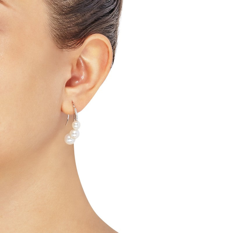 a94a7abf6fa74 6-8.5 mm White Cultured Pearl J-Hoop Earrings with Diamonds, White