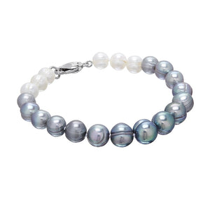 7-10 mm Grey & White Ombré Pearl Bracelet