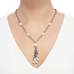 7-11 mm White Pearl & Iolite Tassel Necklace
