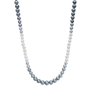 7-11 mm Grey & White Ombré Pearl Long Strand Necklace