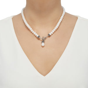 7.5-8 mm White Pearl Pallini Toggle Necklace