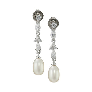 7-7.5 mm Pearl Drop Earrings with Swarovski Zirconia