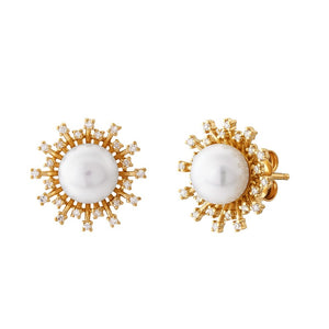 7-7.5 mm Pearl & 1/5 ct Diamond Sunburst Earrings