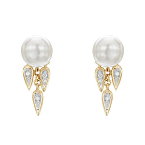 7-7.5 mm Pearl Drop Earrings with Diamonds
