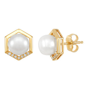 7-7.5 mm White Cultured Pearl Hexagon Earrings with Diamonds