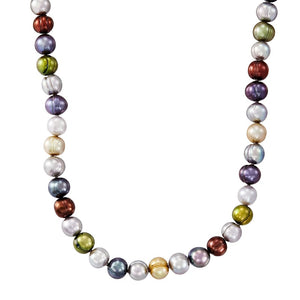 7-8 mm Dark Multicolor Potato Pearl Strand Necklace