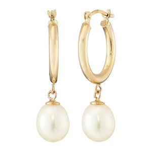 7-8 mm Pearl Drop Huggie Hoop Earrings