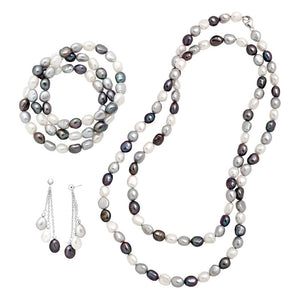 7-8mm Pearl Necklace, Earring & Bracelets Set