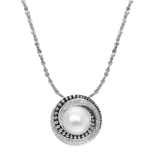 8.5-9 mm Pearl & 1/8 ct Diamond Halo Pendant