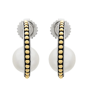 8.5-9 mm Pearl Two-Tone J-Hoop Earrings