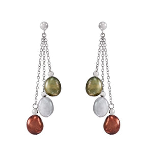 8-9 mm Dark Multicolor Baroque Pearl Chain Earrings