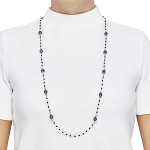 8-9 mm Peacock Pearl & Spinel Beaded Necklace, 36.5