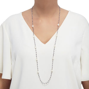 8-9 mm White Pearl & Iolite Necklace