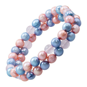Set of 2 8-9 mm Ringed Pearl Multi-Color Stretch Bracelets