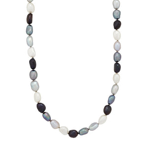 8-9 mm Tuxedo Rice Pearl Strand Necklace