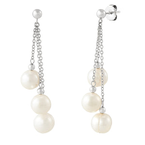 8-9 mm White Ringed Pearl Chain Earrings