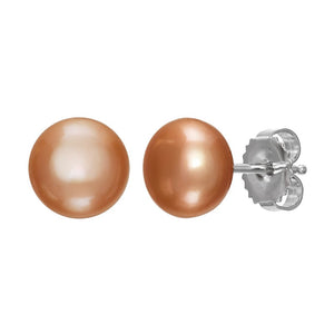 9-10 mm Beige Pearl Stud Earrings