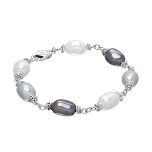 9-10 mm Black, Grey, & White Cultured Pearl Color Crush Bracelet